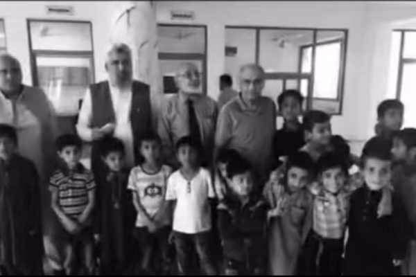 with orphans at KORT in Kashmir